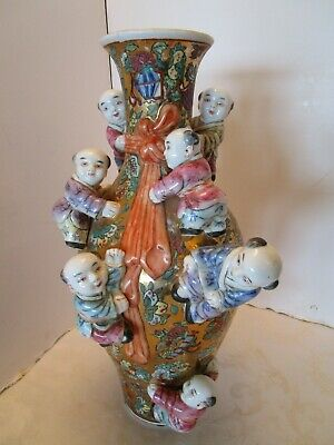 "Vintage Chinese Ceramic Fertility Vase Gold Glazed 7 Climbing Children 18""T 1960"