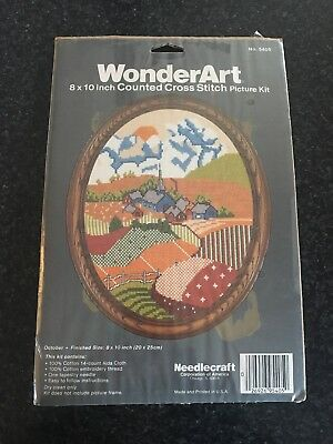 Vintage Wonderart Counted Cross Stitch- October No 5405- Church Mountain Kit
