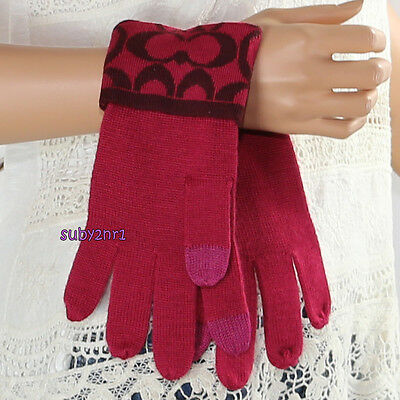 NWT Coach Signature Knit Logo Touch Gloves F85216 Raspberry Sherry Red Pink NEW