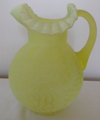 Vintage Fenton Art Glass Yellow Topaz Opalescent Satin Daisy And  Fern Pitcher