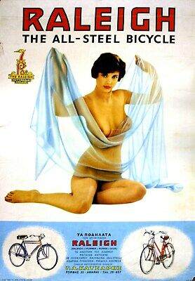 Raleigh Nude British bicycle cycling advert poster home decor ideas bedroom