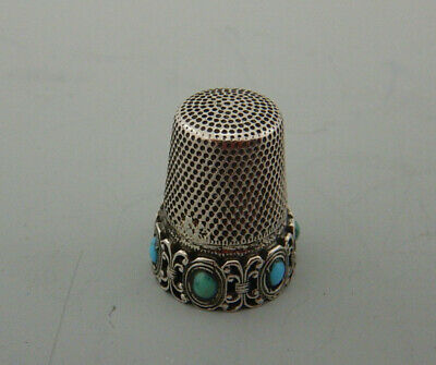 Antique Continental Silver & Turquoise Thimble