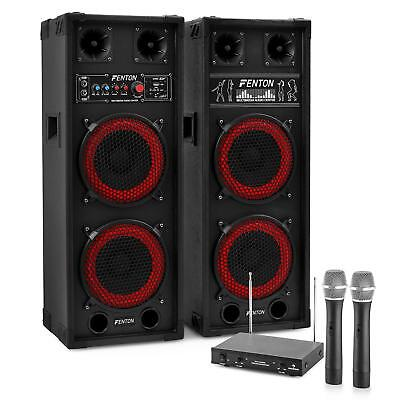Active Pa Speaker  + Dual Wireless Hand Held Microphones Karaoke Dj Party