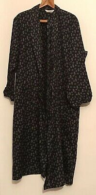 Vintage St Michael Navy Blue Robe Smoking Robe Large Patterned  M&S Grande