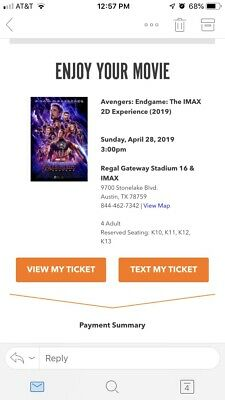 4 Avengers Endgame Imax 2D Tickets 4/28 3pm Austin Side By Side