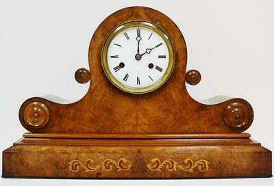 19THC Antique 8Day Double Twin Fusee Burr Walnut & Marquetry Inlaid Mantel Clock
