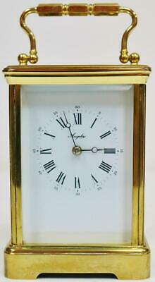 Vintage French L'Epee Brass & Glass Timepiece Carriage Clock Platform Escapement