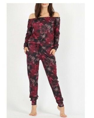 Womes girls celebrity indpired Floral Bardot Top And Jogger Lounge Wear Suit