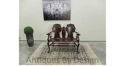 Circa 1900 Victorian Mahogany Winged Griffin Carved Settee / Bench