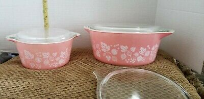 Pyrex Pink Gooseberry Casserole 475, 474 lid only 473 Lids Excellent Condition
