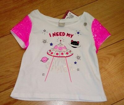 New Girls White Sequined T-Shirt Age 6 Years 116cm