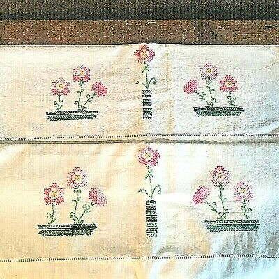 Vintage Pair of Embroidered Pillowcases, Pink Cross Stitch Flowers