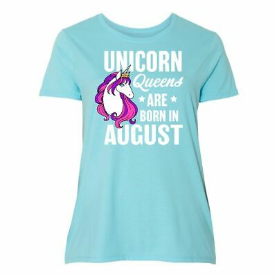 c3a9a3ed Inktastic Birthday Unicorn Queens Are Born In August Women's Plus Size T- Shirt