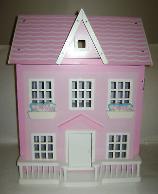 """WOODEN DOLL HOUSE PINK WHITE WOOD GIRLS TOY GAME FUN 23""""x18.75""""x16"""" BEAUTIFUL"""