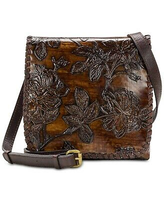 Patricia Nash Brown Bark Leaves Granada Embossed Leather Crossbody Handbag
