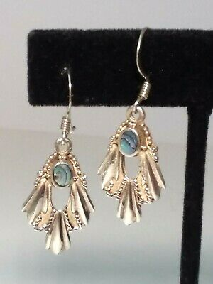 Sterling Silver 925 EARRINGS Abalone DROP DANGLE Ornate Handcrafted Natural