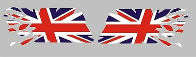 2x RIPPING TEARING UNION JACK FLAG DECALS / STICKERS / GRAPHICS