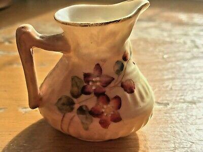 Rare Royal Worcester Blush Ivory Small Jug Decorated With Flowers