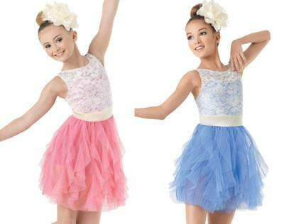 Dance Costume Small Large Child Teal Ivory Lyrical Ballet Lace DUET Competition