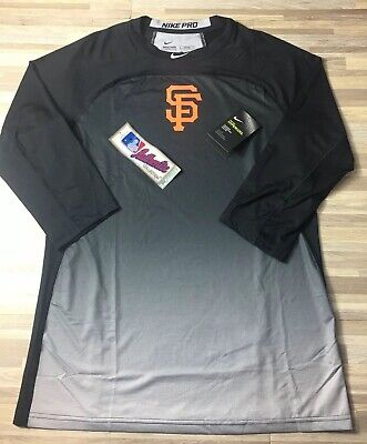 5c5036b9e $65 SF Giants Nike Pro Hypercool Mens LARGE 3/4 Sleeve Fitted Baseball Shirt  NWT