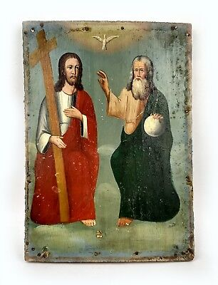 Antique Icon Trinity Orthodox Russian Empire Wood 230x160 mm