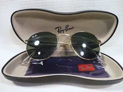 Ray-Ban 50mm Round Metal Gold Framed Sunglasses - Green (RB34470015021)