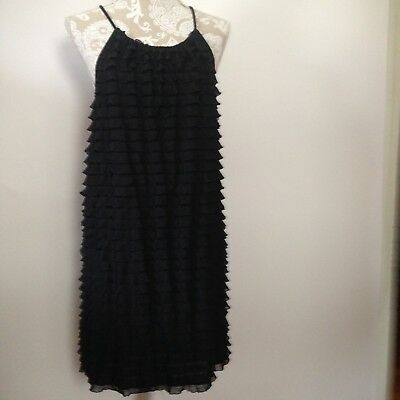 59fe3d4ae9dbef Jordan Taylor Layered Dress Womens New Black Sleeveless Strappy Size L