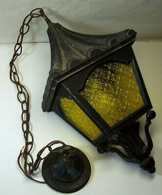 Vtg Porch Entry Light Hanging Lamp Ceiling Fixture Rustic Cabin Weathered Gothic