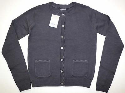 Next - Charcoal Grey Soft Cotton Embroidered Trim Cardigan- Girls 12 Years – New