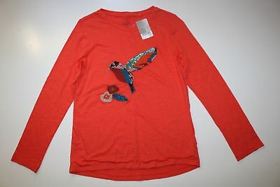 Next -Red Cotton Colibri Bird Embroidered Long Sleeve Blouse Top Girls 12 Years
