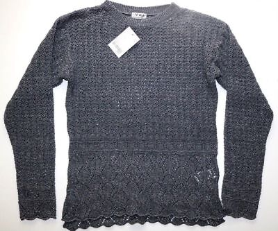 Next - Metallic Grey Floral Knitted Sweater Jumper Top - Girls 12 Years – New