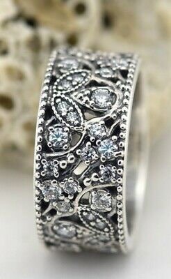 2acba6df9 Authentic Pandora Sterling Silver Shimmering Leaves Ring Size 50 #190965CZ