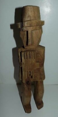 "tribal wood carved man with flute  12"" nice"