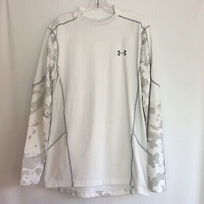 d8627e6b Mens Under Armour Cold Gear Long Sleeve Shirt Medium Fitted White Camo Base  Top
