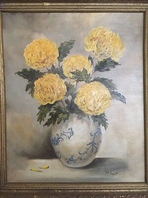 M Ernst Oil Painting Floral Still Life Chrysanthemum Vase Board Framed Vintage