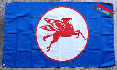 Mobil One Gas Pegasus Flag 3x5 ft Banner Blue Retro Logo Oil Racing Garage