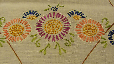 Vintage Embroidered Bold Daisy French Knots Crochet Lace Linen Runner 18x39 R48
