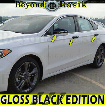 2013-2019 Ford Fusion GLOSS BLACK Door Handle W/4 Smart KH+Mirrors W/Signal Hole