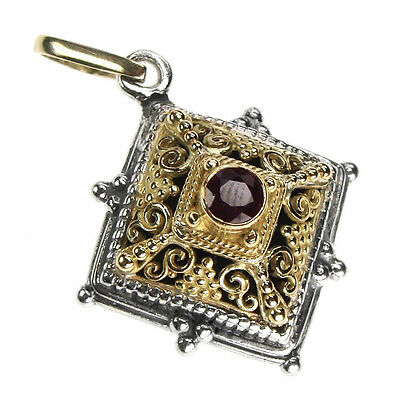 Gerochristo 1349 ~ Solid Gold, Silver & Ruby - Medieval Byzantine Pendant