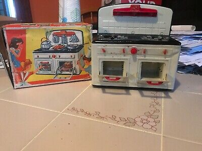 Antique Rare Western Germany FUCHS Tin Toy Stove Range Oven Kitchen.