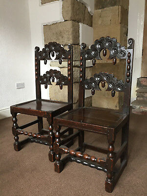A Pair of Antique Carved Oak Yorkshire / Derbyshire Backstools