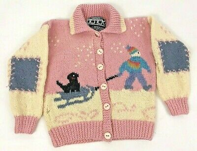 e9581f45f9ca Berek Girl's Sweater Wool Cardigan 8 Hand Knit Pink Dog Snowman Flawed  Crafting