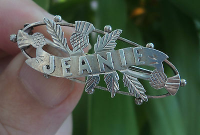 Edwardian Sterling Silver Scottish Thistle Name Brooch 1906  Ward Bros - JEANIE