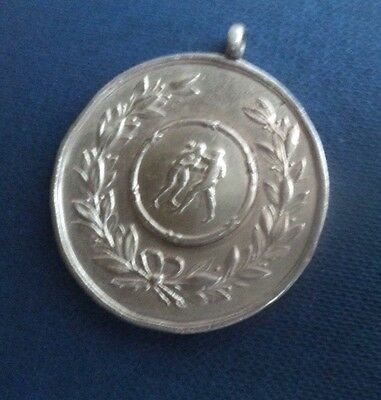 LARGE Heavy Sterling Silver BOXING Fob Medal  h/m 1912  -  William Hair Haseler