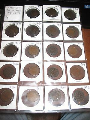 Group Lot (29) Large One Cent Collection 1859 - 1919 Canada