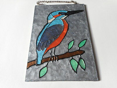 Glass painted Kingfisher wall or window hanging picture