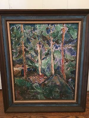 Midcentury Abstract  Oil On Board Painting Charles Burdick Landscape Signed List
