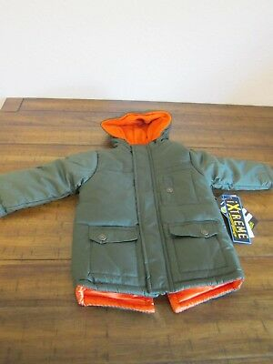 9e3dfd752 New Boys 18 Months iXtreme Puffer Winter Hooded Jacket Coat Green Orange NWT