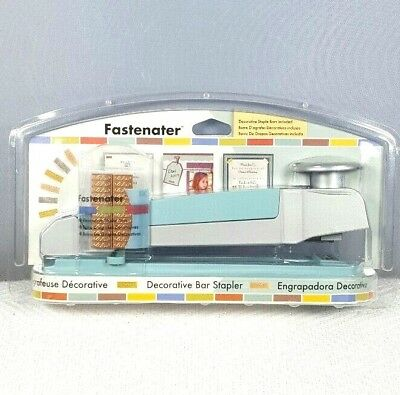 BNIB FASTENATER Blue Decorative Bar Stapler EKFST01 With 48 Staples