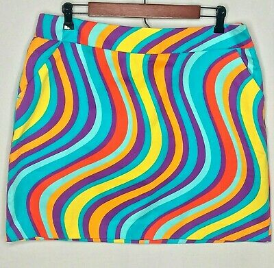 8c6a05bc4 Loudmouth Torrey Lines Golf Skort Skirt Size 14 Golf Loud Mouth Rainbow  Hippie